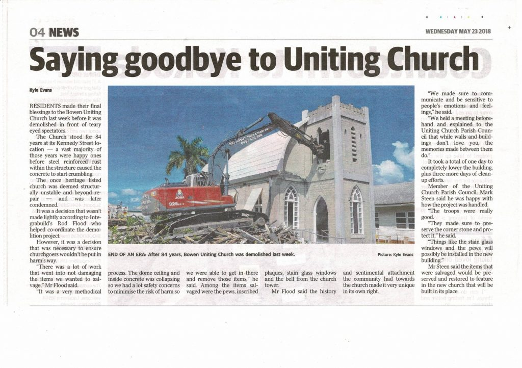 Presbyterian Church Bowen Demolished News Article