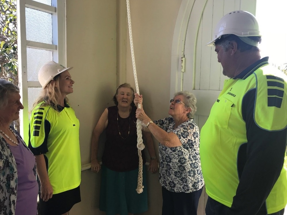 Presbyterian Church Bowen Final Bell Ring by Integrabuild owners Jen and Ron Lust